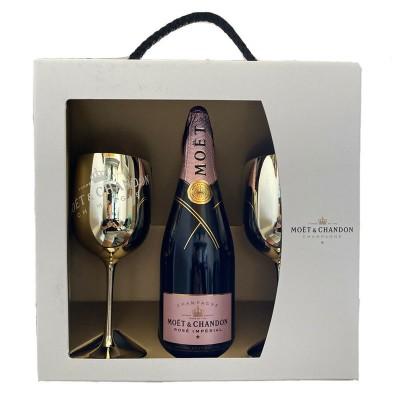 Champagne Moet & Chandon Rosé Imperial cl75 Confezione Regalo 2 Calici